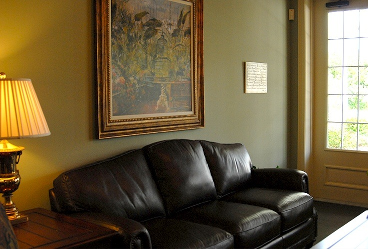 Couch in waiting room